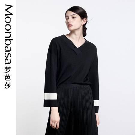 Moonbasa梦芭莎 欧美时尚女装2016秋新品长袖上衣针织衫毛衫毛织