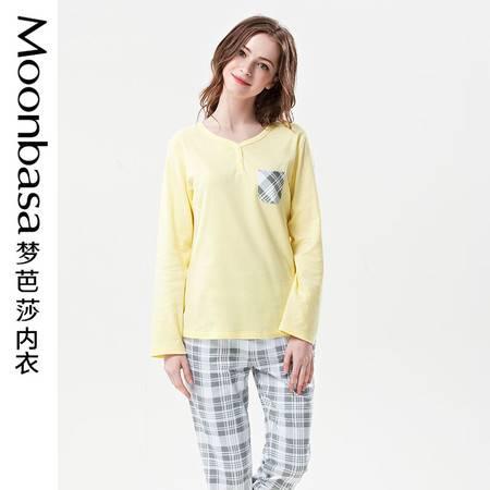 Moonbasa/梦芭莎英伦纯棉亲肤套头长袖家居服情侣睡衣女士套装