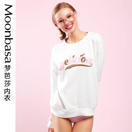 Moonbasa/梦芭莎樱桃派印花长袖圆领套头毛圈少女休闲家居服卫衣