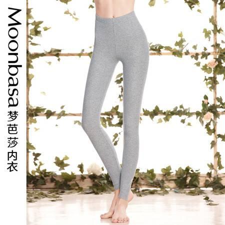 Moonbasa/梦芭莎樱桃派俏皮蝴蝶结纯色精棉坑条纹弹力舒适打底裤
