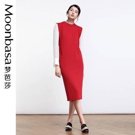 Moonbasa梦芭莎  欧美时尚女装热卖荷叶边无袖长款套头毛织连衣裙