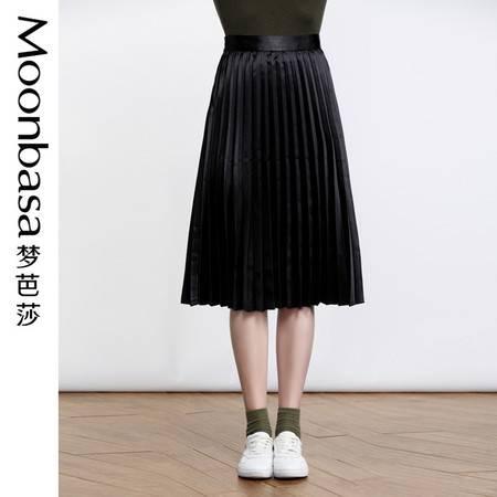 Moonbasa梦芭莎 欧美时尚女装2016秋装新品简约压褶中长半裙