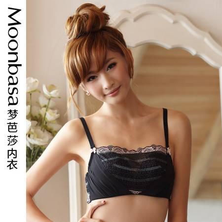 Moonbasa梦芭莎樱桃派假两件中厚模杯抹胸防走光内衣文胸胸罩