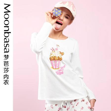 Moonbasa梦芭莎樱桃派休闲舒适印花圆领长袖套头打底T恤睡衣少女