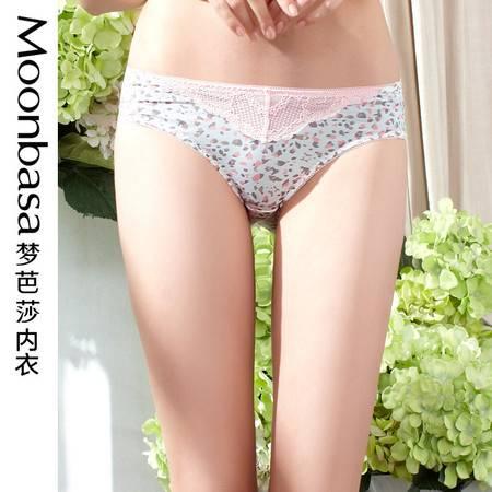 Moonbasa梦芭莎樱桃派豹纹蕾丝提臀舒适中腰平角三角少女内裤新品