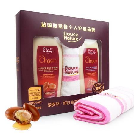 柔舒然Douce Nature 法国有机进口摩洛哥阿甘油 洗发乳+沐浴乳超值套盒 赠送毛巾