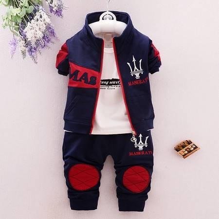 2016童装儿童秋装图标3件套 男童1-2-3-4岁纯棉长袖Z玛莎3件套