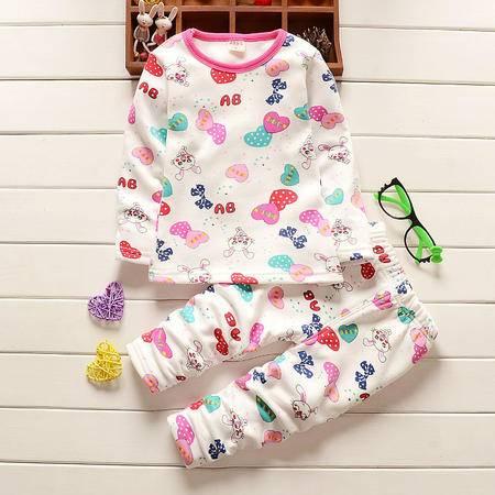 童装女童1-4岁加绒保暖内衣套装 婴幼儿冬装加厚内衣套D爱心