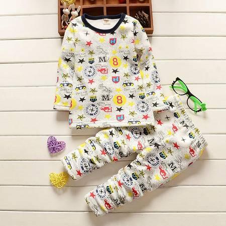 童装男童1-4岁加绒保暖内衣套装 婴幼儿冬装加厚内衣套D M8