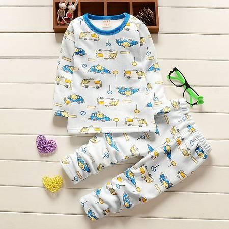 童装男童1-4岁加绒保暖内衣套装 婴幼儿车子冬装加厚内衣D车子