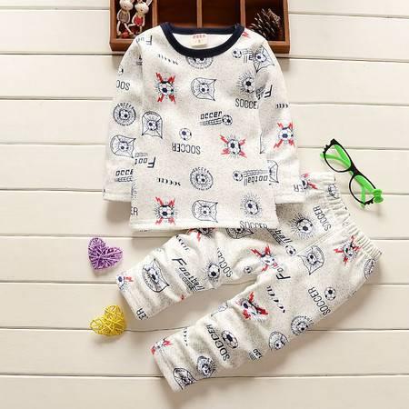 童装男童1-4岁加绒保暖内衣套装 婴幼儿冬装加厚内衣套D火球