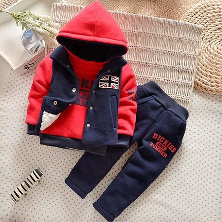 2016冬装新款童装男女童加绒加厚米字旗三件套套装