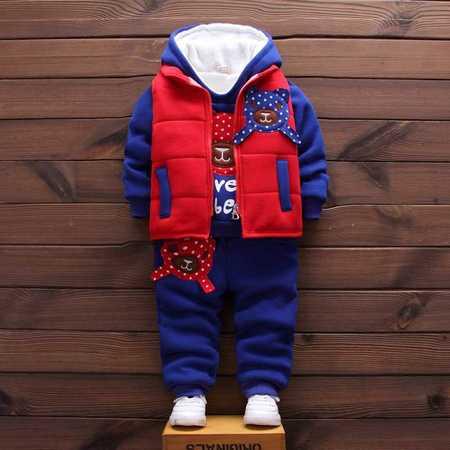 2016冬装新款男女童卡通加绒加厚点点熊三件套套装C点点