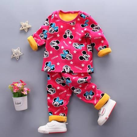 童装男童1-4岁加绒保暖内衣套装 婴幼儿冬装加厚内衣套复合米奇