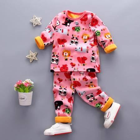童装男童1-4岁加绒保暖内衣套装 婴幼儿冬装加厚内衣套复合熊猫