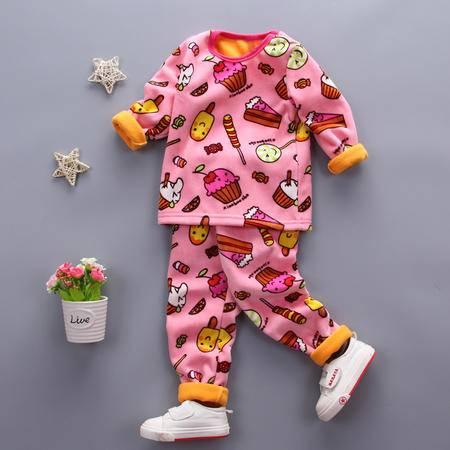 童装男童1-4岁加绒保暖内衣套装 婴幼儿冬装加厚内衣套复合冰淇淋