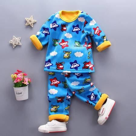 童装男童1-4岁加绒保暖内衣套装 婴幼儿冬装加厚内衣套复合五星飞机