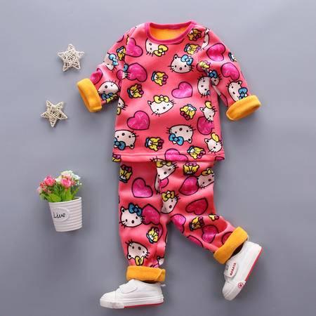 童装男童1-4岁加绒保暖内衣套装 婴幼儿冬装加厚内衣套复合KT猫