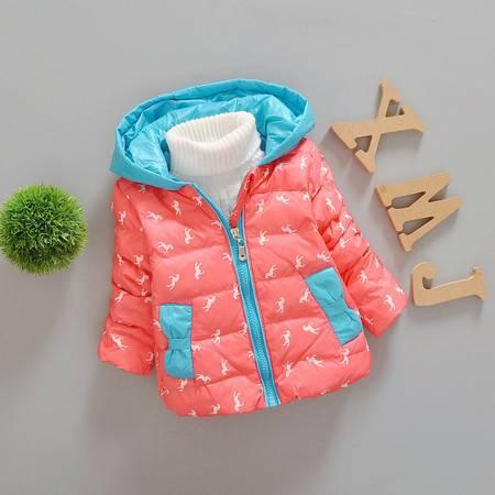 2016冬装新款女童羽绒棉单件拉链外套羽绒小马