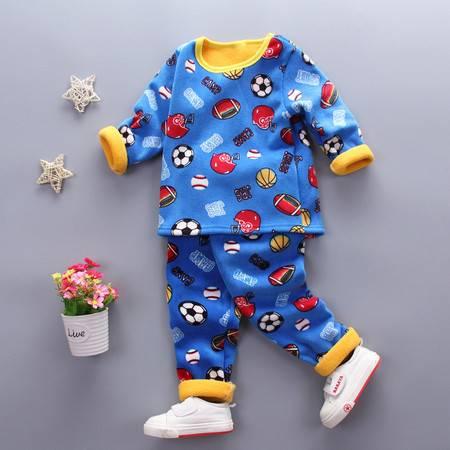 童装男童1-4岁加绒保暖内衣套装 婴幼儿冬装加厚内衣套复合足球