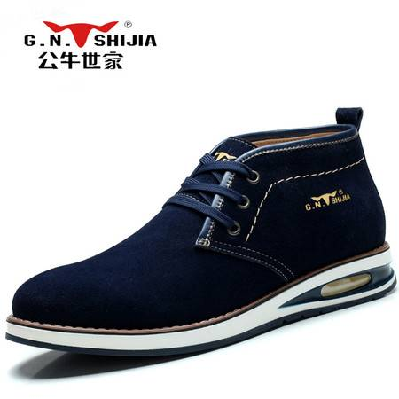 公牛世家男鞋磨砂反绒皮板鞋韩版内增高皮鞋潮流伐木鞋男士气垫鞋