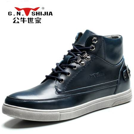 公牛世家男鞋春季新款真皮运动休闲鞋男士复古跑步鞋韩版潮流板鞋
