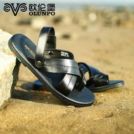 夏季新款凉鞋 男士休闲简约男鞋 平跟真皮沙滩鞋凉鞋XXD1502