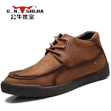 公牛世家男鞋冬季正品真皮高帮皮鞋男士休闲鞋加绒保暖棉鞋