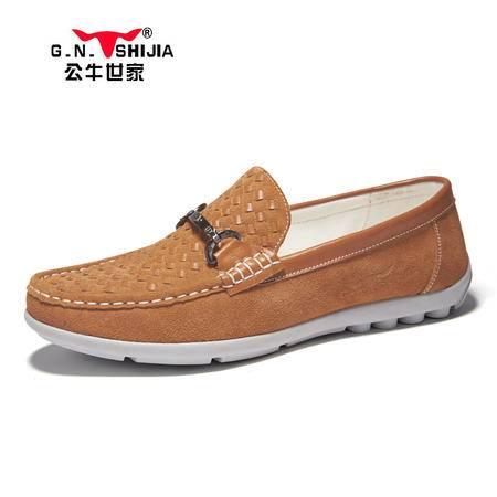 公牛世家春季男鞋真皮豆豆鞋男士休闲鞋韩版潮鞋男驾车单鞋懒人鞋