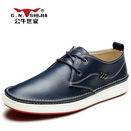 公牛世家男鞋春季潮鞋皮鞋男士休闲鞋板鞋韩版潮流低帮鞋子男系带
