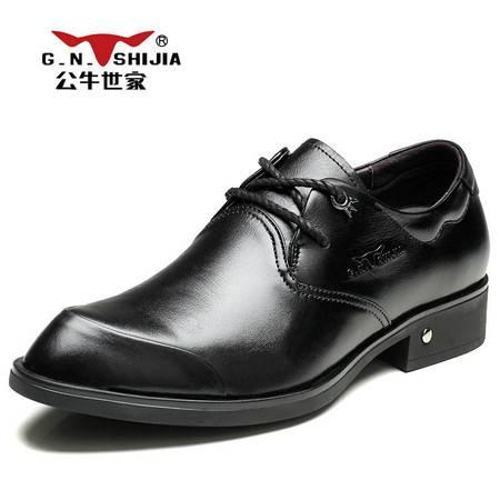 公牛世家男鞋春季英伦潮时尚男士商务正装皮鞋男真皮婚鞋系带单鞋