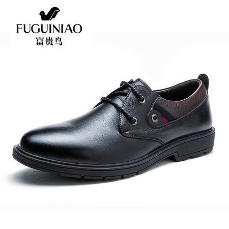 富贵鸟男鞋秋季男士真皮商务休闲皮鞋透气头层牛皮英伦系带皮鞋子