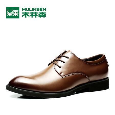 木林森男鞋2016夏季英伦尖头商务正装皮鞋男士潮流真皮系带单鞋男