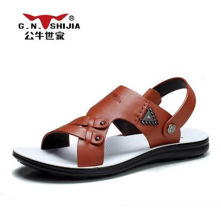 公牛世家男鞋2016夏季新款凉拖鞋休闲鞋韩版沙滩鞋两穿凉鞋男拖鞋