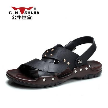 公牛世家2016夏季新款凉鞋男沙滩鞋韩版潮流防滑拖鞋懒人透气男鞋