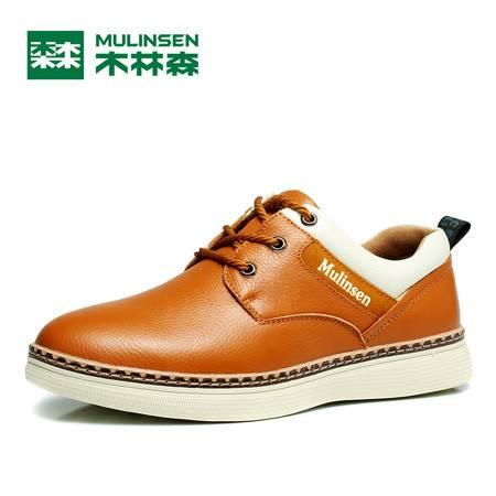 木林森男鞋夏季休闲皮鞋男士真皮休闲鞋青年英伦潮鞋子男系带板鞋