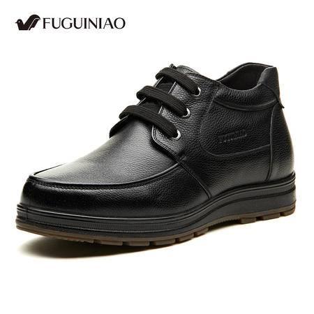 富贵鸟冬季男士韩版休闲皮鞋加绒棉鞋高帮鞋英伦耐磨厚底增高男鞋