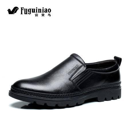 FGN/富贵鸟男鞋商务休闲皮鞋男士英伦真皮低帮套脚皮鞋潮流男鞋