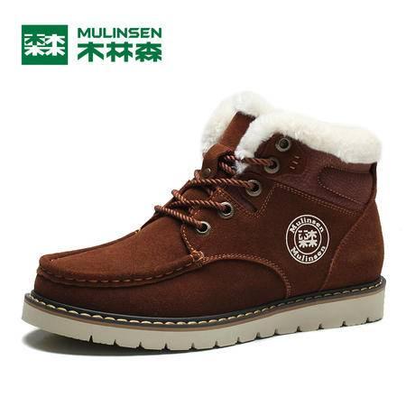 木林森冬季男鞋加绒保暖雪地靴男靴短筒男士棉鞋高帮英伦短靴子