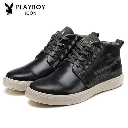 PLAYBOY花花公子男鞋秋冬新款板鞋 男士休闲高帮皮鞋短靴马丁靴潮