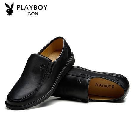花花公子春秋季商务正装皮鞋中年男士高档皮鞋套脚头层牛皮男鞋