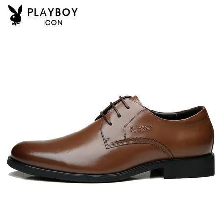 PLAYBOY花花公子正品男士商务正装皮鞋英伦系带春季