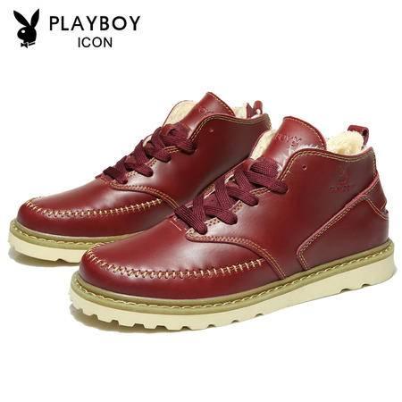 花花公子真皮马丁靴子英伦潮男士工装靴复古短靴内增高休闲鞋男鞋