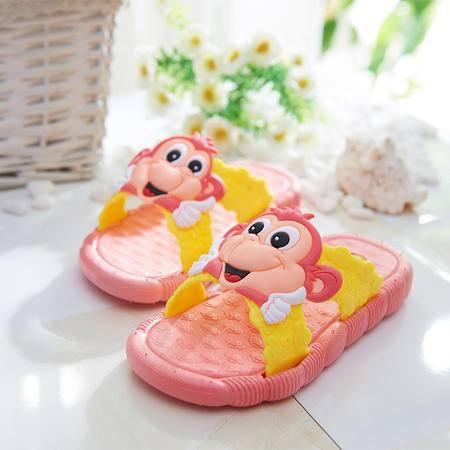 萱宜阁夏季室内防滑拖鞋可爱卡通儿童凉拖 聪明猴