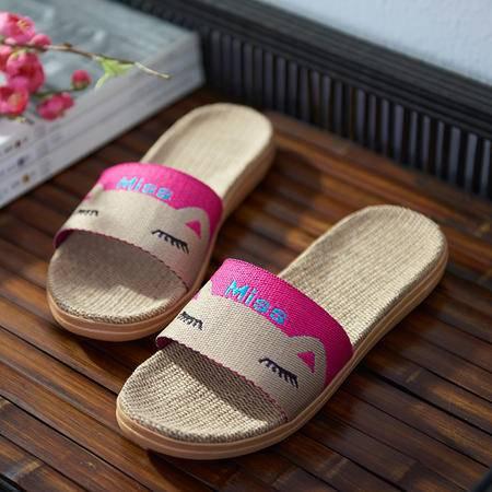萱宜阁夏季室内可爱卡通猫亚麻拖鞋