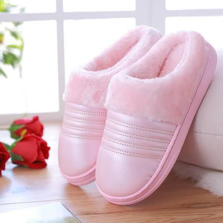 萱宜阁 冬拖鞋女半包跟保暖情侣家居厚底棉拖鞋冬季室内  毛口皮拖鞋