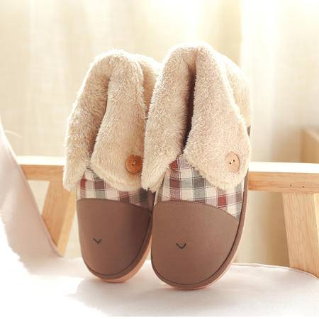 萱宜阁 冬季棉拖鞋包跟女厚底 卡通可爱保暖情侣家居拖鞋男士室内 翻边猫包跟棉拖