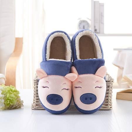 萱宜阁 卡通可爱冬季棉拖鞋家居家室内半包跟情侣男女保暖月子防滑毛拖鞋 小猪棉拖鞋