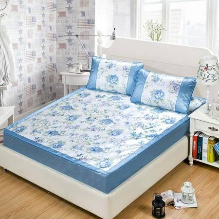 冰丝席床笠款 加厚夏凉席三件套 可折叠床单式1.5米1.8m席子