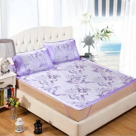 印花凉席空调席 可折叠加厚三明治床笠款冰丝席床罩席子